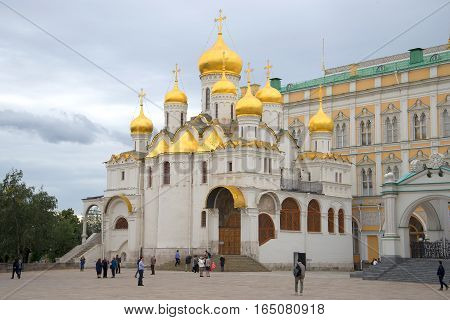 MOSCOW, RUSSIA - SEPTEMBER 07, 2016: Annunciation Cathedral cloudy September day. The Moscow Kremlin. Historical landmark
