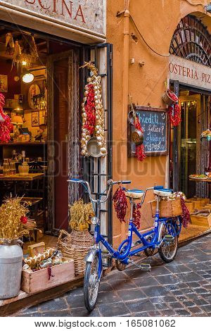Bike In Front Of A Restaurant In Rome Italy