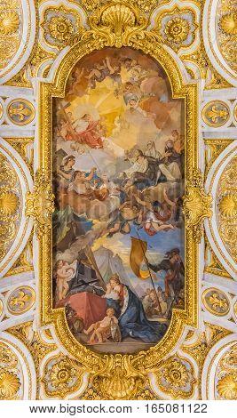 Ornate Ceiling Of The Church Of San Luigi Dei Francesi In Rome