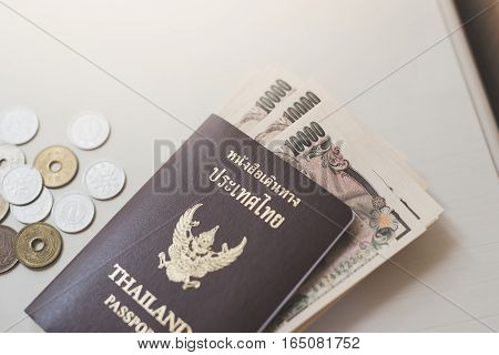 Close up of Passport and currency background