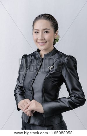 beautiful happy Asian girl smile and laugh togetherThai woman in Thai dress.