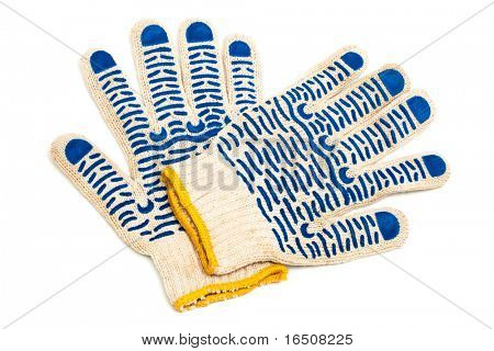 fabric protective gloves on a white background