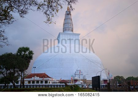 Dagoba of Ruvanvelisaya in evening twilight. Anuradhapura, Sri Lanka