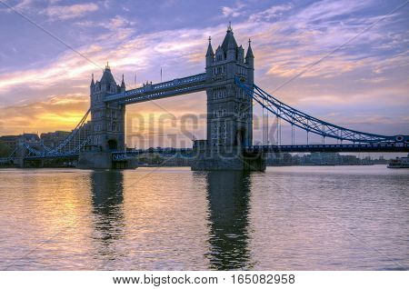 A view of Tower Bridge against sunset in London. Jan 2017