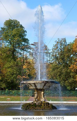 ST. PETERSBURG, RUSSIA - OCTOBER 05, 2015: The Bowl fountain close up in the sunny October afternoon in the palace park of Peterhof