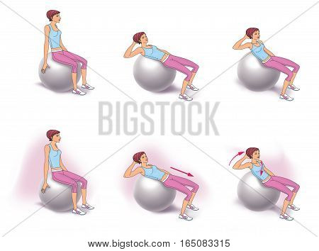 The girl sitting on fitball doing twisting exercise to strengthen the abdominal muscles poster