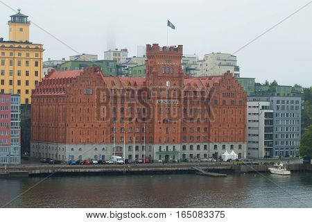 STOCKHOLM, SWEDEN - AUGUST 29, 2016: Elite Marina Tower hotel in the foggy gloomy afternoon. Historical landmark of the Stockholm, Sweden