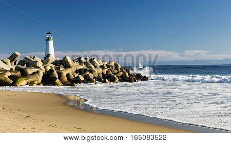 Lighthouse Walton on Santa Cruz Shore California USA
