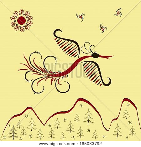 Vector illustration Sunbird flying over mountains. Inscription for card, prints and posters. Mezen painting. eps10