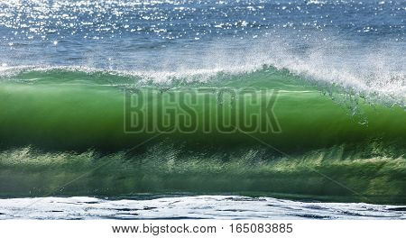 Big Wave Break Spray In The Pacific Ocean