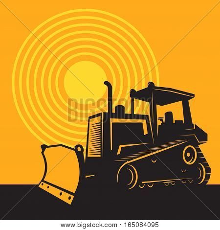 Bulldozer or tractor. Construction machinery color vector illustration.