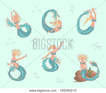 mermaids set in cartoon style, suitable for childrens fairy tales, coloring pages. Vector illustration. eps10