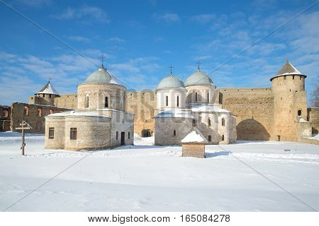 Sunny March day in the Ivangorod fortress. Leningrad region, Russia
