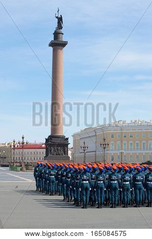 SAINT PETERSBURG, RUSSIA - MAY 05, 2015: Girls cadets of Academy of the Ministry of emergency situations in formation on the Palace square. Rehearsal of parade in honor of Victory Day in St. Petersburg