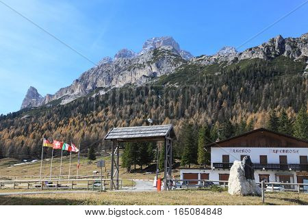 DOLOMITES, ITALY - NOV 2, 2014: Misurina village on November 2, 2014 in Dolomites, Italy. Misurina is a landmark ski resort on Dolomites Alps.