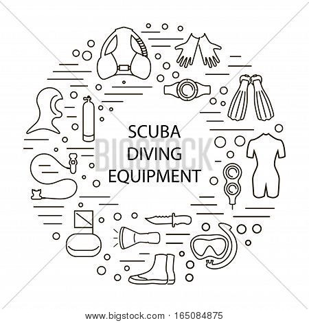 set of scuba diving equipment,  in a modern style lines. Isolated element for posters, banners, advertisings.  Vector illustration. eps10