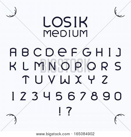 Alphabetic fonts and numbers isolated on white backgroud. Vector illustration.