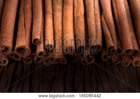 cinnamon sticks background, selective focus. cinnamon sticks.