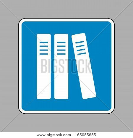 Row Of Binders, Office Folders Icon. White Icon On Blue Sign As