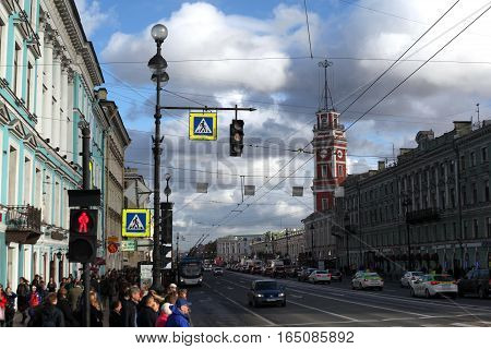 Saint-Petersburg, Russia - September 30, 2016:The City Duma tower  and Nevsky Prospekt in September 30, 2016 in Saint-Petersburg, Russia