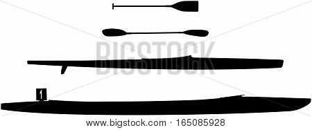 set black silhouette sports kayak and canoe and paddle