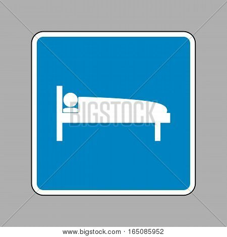 Hospital Sign Illustration. White Icon On Blue Sign As Backgroun