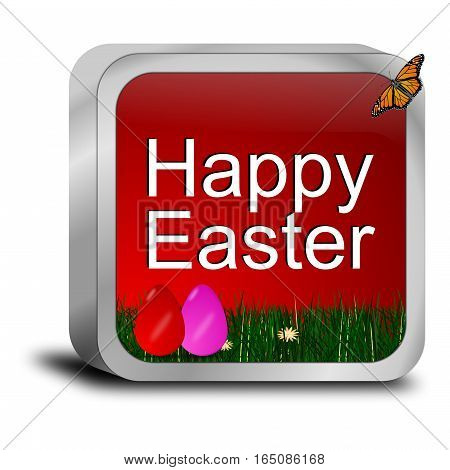 decorative red happy easter button with easter eggs - 3d illustration