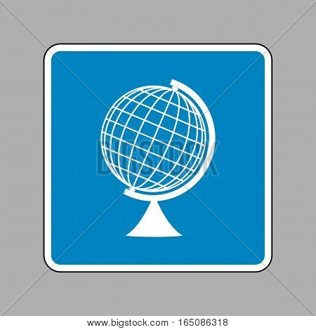 Earth Globe Sign. White Icon On Blue Sign As Background.