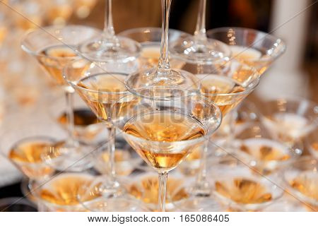 Champagne Pyramid On Event, Party Or Banquet.