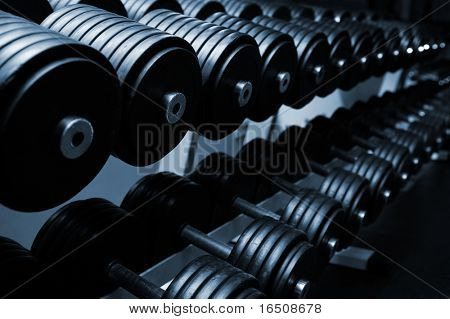 Heavy sports dumbbells in modern sports club