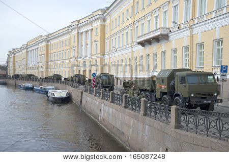 SAINT PETERSBURG, RUSSIA - MAY 05, 2015: Military equipment on embankment of the river Moika in the early morning before the rehearsal of parade in honor of Victory Day.Saint Petersburg