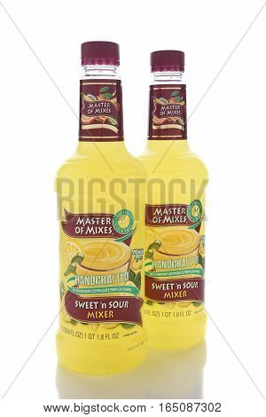 IRVINE CALIFORNIA - JANUARY 13 2017: Master of Mixes Sweet and Sour Mix. From American Beverage Marketers makers of a wide variety of beverage mixers.