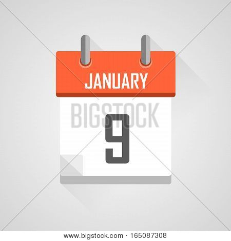January 9, calendar date month icon with flat design on grey background