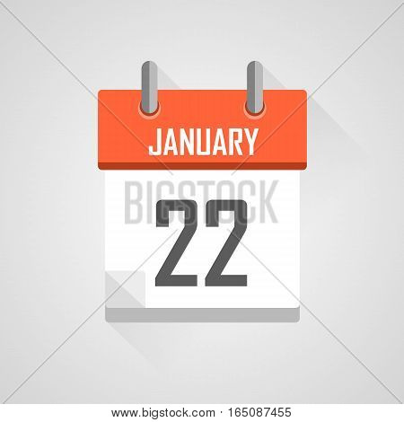 January 22, calendar date month icon with flat design on grey background