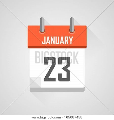 January 23, calendar date month icon with flat design on grey background