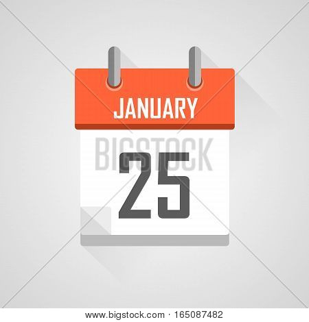 January 25, calendar date month icon with flat design on grey background