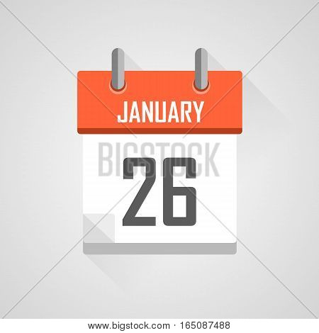 January 26, calendar date month icon with flat design on grey background