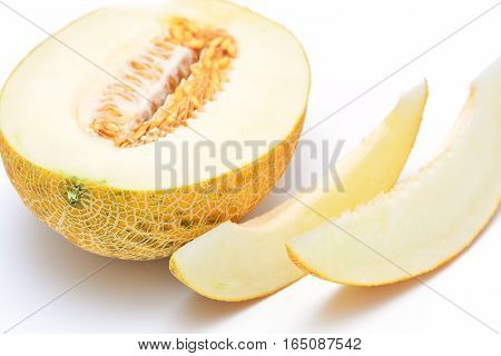Ripe melon on a white background. Useful alkaline product