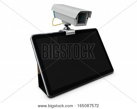 3D Illustration Of Cctv And Mobile Application On Tablet