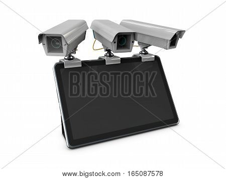 3D Illustration Of Cctv And Mobile Application On Tablet, Isolated White