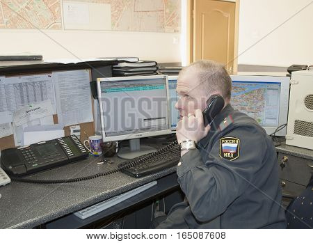 SAINT PETERSBURG, RUSSIA - MARCH 29, 2011: Working day in the duty of the police Department
