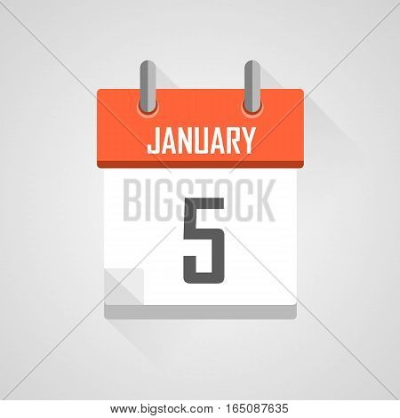 January 5, calendar date month icon with flat design on grey background