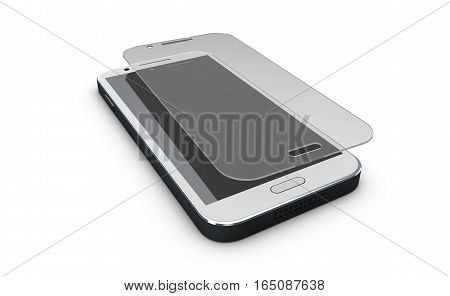 Screen Protect Glass. Mobile Accessory. 3D Illustration