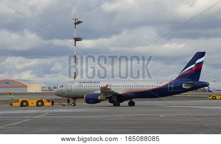 MOSCOW, RUSSIA - APRIL 15, 2015: The Aeroflot Airbus A320 (VP-BZP) before transportation to the runway. Sheremetyevo Airport