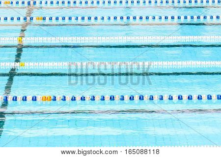Swimming Pool For Competition With Race Tracks Or Lanes