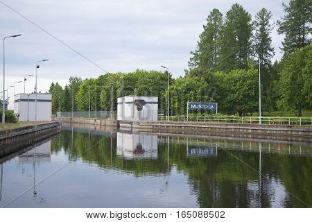 SAIMAA CANAL, FINLAND - JUNE 14, 2015: Gateway