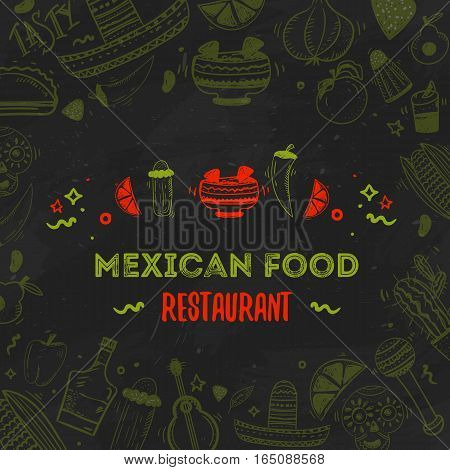 Mexican food menu template. Vector vintageillustration for menu, poster on dark background. with place for text.
