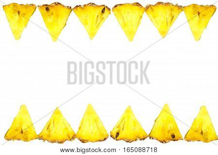 Isolated Of Pineapple Fruit Sliced On White Background