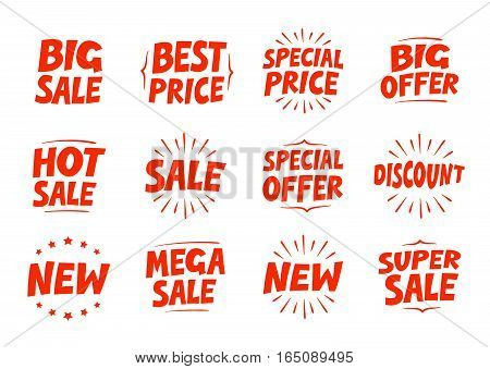 Shopping set icons. Sale discount offer new symbol. Text vector illustration isolated on white background