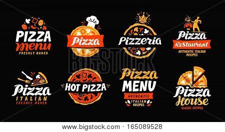 Pizza logo. Collection labels for menu design restaurant or pizzeria